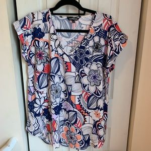 Express Abstract Floral Blouse Size Large